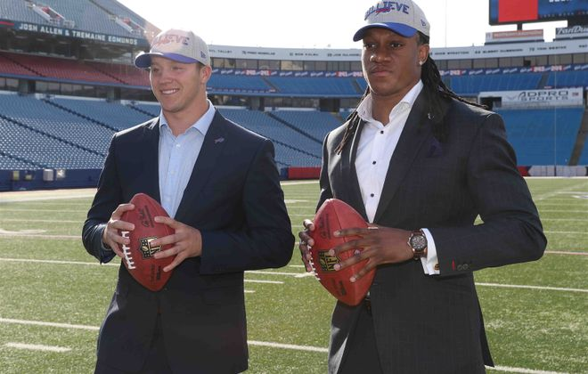 First-round draft picks Josh Allen, left, and Tremaine Edmunds will be on the field Friday as the Bills start rookie minicamp. (James P. McCoy/News file photo)
