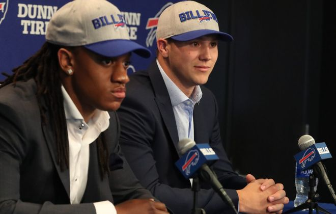 Last year's first-round draft picks, linebacker Tremaine Edmunds, left, and quarterback Josh Allen, will play a huge part in the Bills' future. (James P. McCoy/News file photo)