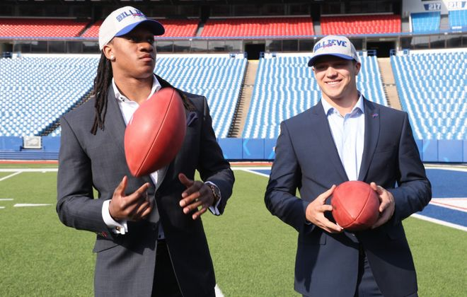 Buffalo's first-round picks, Josh Allen and Tremaine Edmunds.  (James P. McCoy/News file photo)
