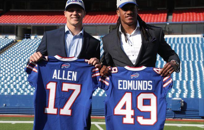 Bills first-round picks Josh Allen and Tremaine Edmunds. (James P. McCoy/Buffalo News)