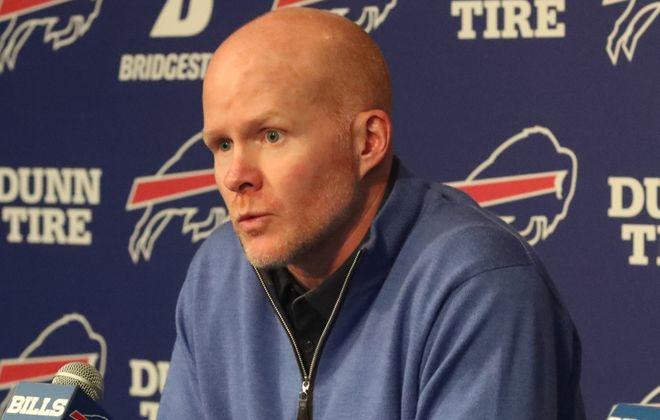Buffalo Bills head coach Sean McDermott addressed the media on Monday, April 16, 2018. (James P. McCoy/Buffalo News)