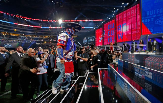 "Battling a serious illness, Ezra Castro, aka ""Pancho Billa"", a longtime Buffalo Bills fan, got to make the Bills' third-round pick (Paul Moseley, Tribune News Service)"