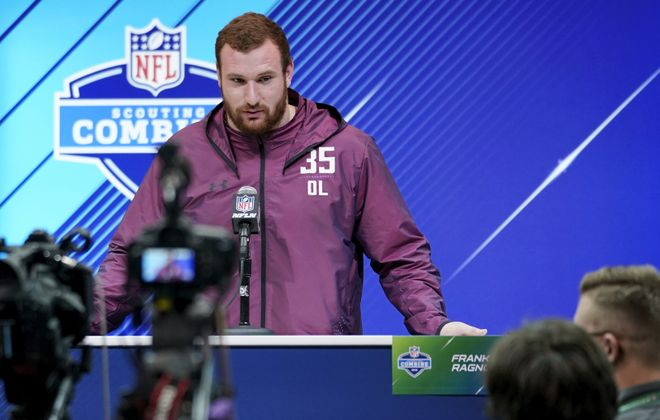 Arkansas center Frank Ragnow has had a private visit with the Bills leading up to the draft. (Joe Robbins/Getty Images)