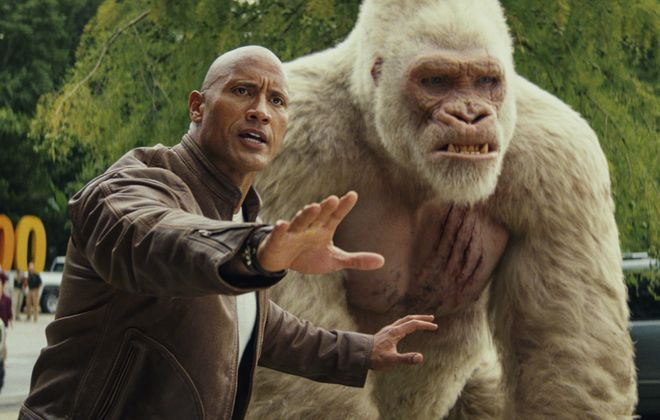 """Dwayne Johnson and friend star in the new film """"Rampage."""" (Warner Bros. Pictures)"""