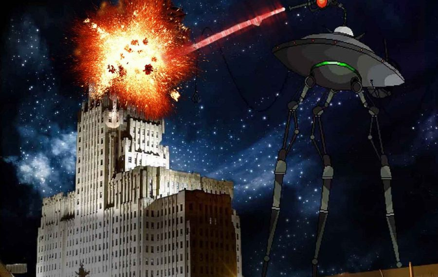 """Still shot from WKBW's """"War of the Worlds,"""" a Halloween classic for which a documentary has been made. (via Bob Koshinski)"""
