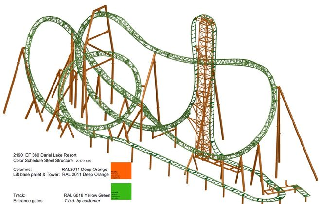 The rendering of Darien Lake's the Tantrum, the park's first new roller coaster since 2008. (via Darien Lake)