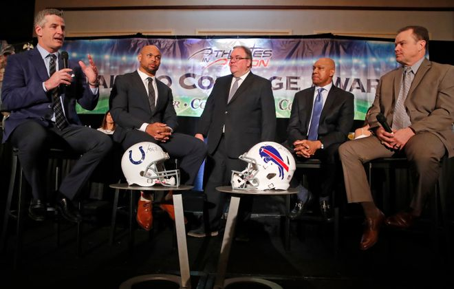 Steve Tasker joins a Call to Courage panel discussion that includes, from right, Frank Reich, Lorenzo Alexander, John Murphy and Jerry Butler. (Harry Scull Jr./Buffalo News)