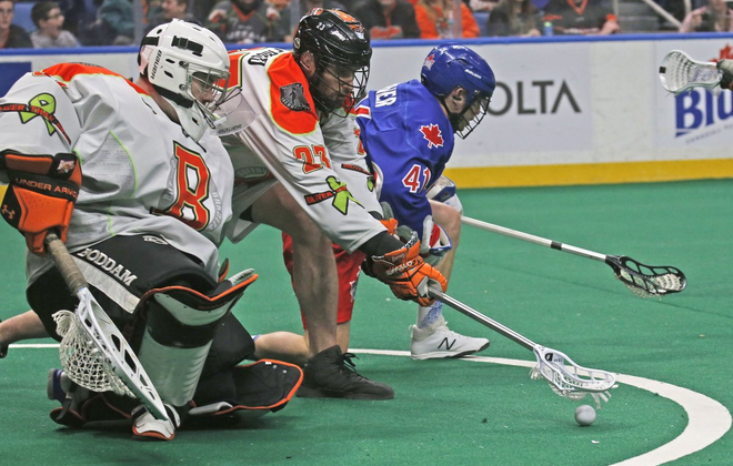 Bandits goalie Zach Higgins filled in for starter Alex Buque after he was pulled in the second quarter of a 16-11 loss (Robert Kirkham / Buffalo News)