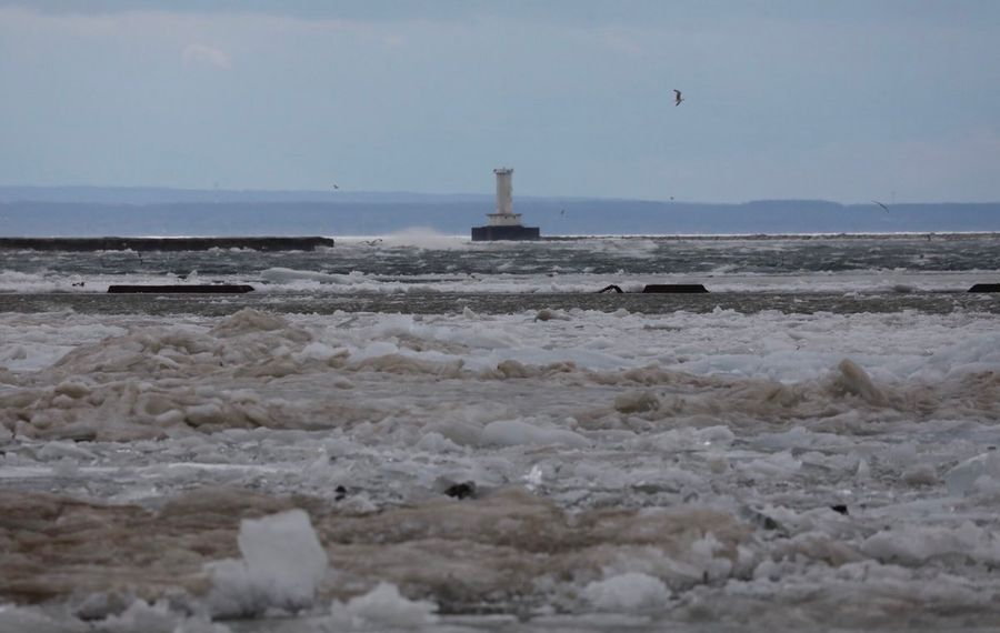 """The New York Power Authority said """"the ice boom is designed to submerge during high wind and high water events, allowing ice to overtop the boom."""" (Derek Gee/Buffalo News)"""