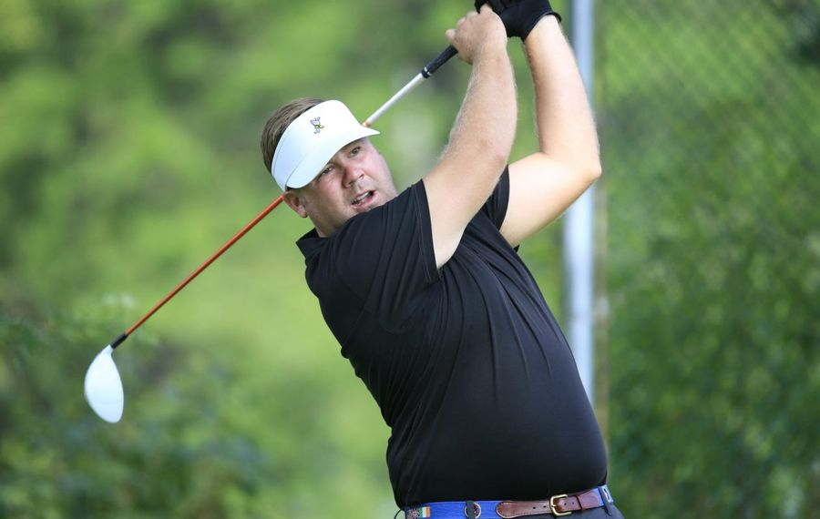 Jamie Miller, shown here  teeing off during the Porter Cup at Niagara Falls Country Club in July 2016, is often called to play in scrambles. (Harry Scull Jr./Buffalo News file photo)