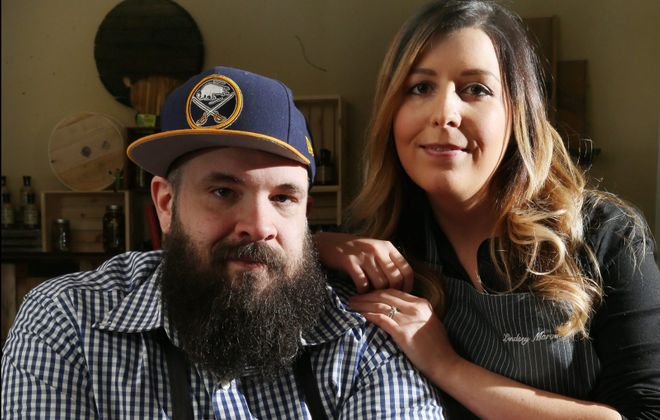 RJ and Lindsey Marvin, owners of Barrel + Brine, are one of several businesses and Buffalonians who've given back during the Covid-19 pandemic. (Sharon Cantillon/News file photo)