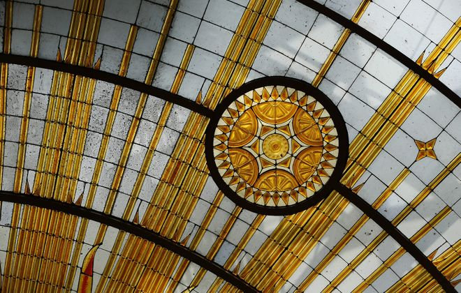 A skylight designed by Buffalo City Hall architect John J. Wade is one of many stunning features in the 13th floor Common Council chambers. (Derek Gee/Buffalo News)