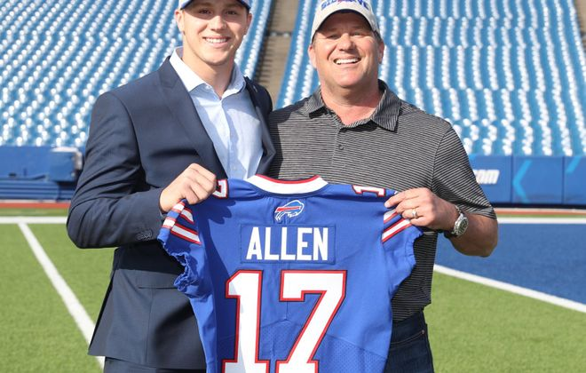 Buffalo Bills first-round pick Josh Allen, left, and his father Joel at New Era Field in Orchard Park, N.Y., on Friday, April 27, 2018. ( James P. McCoy/Buffalo News)