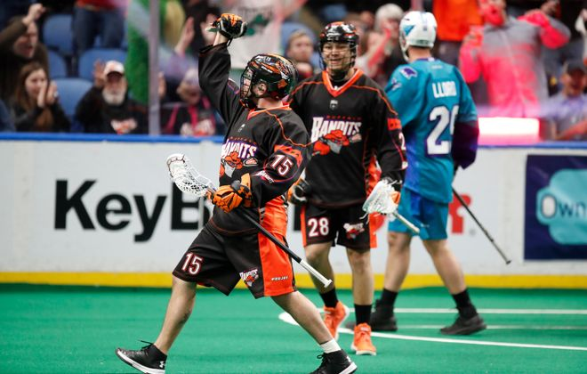 Buffalo Bandits' Shawn Evans celebrates his goal against the Rochester Knighthawks during first half action at KeyBank Center on Saturday, April 28, 2018. (Harry Scull Jr./Buffalo News)