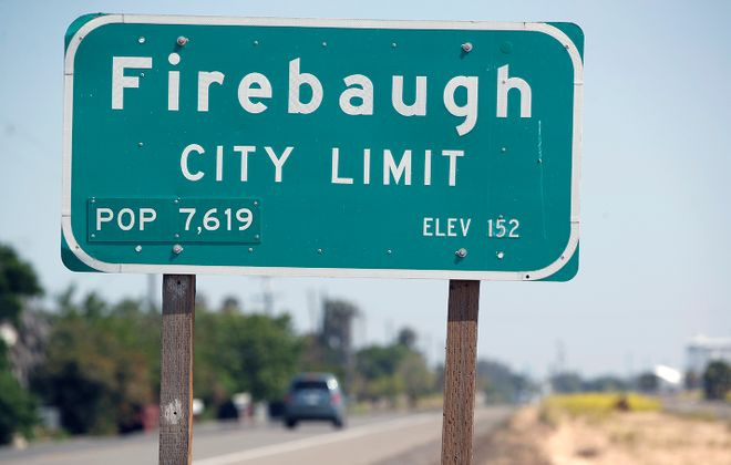 The Firebaugh city limit sign, where Bills' first-round draft pick Josh Allen grew up. (Harry Scull Jr./Buffalo News)