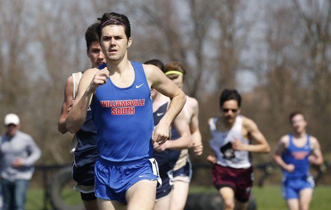 Dave Bergamasco of Williamsville South runs in the 1,600-meter race during a recent meet at Sweet Home High School.  (Derek Gee/Buffalo News)