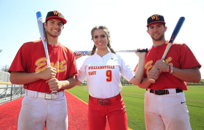 Williamsville East baseball players, Joe and Charles Mack with their sister Christy, who plays on the school's softball team. All three have found success on the diamond. (Harry Scull Jr./ Buffalo News)