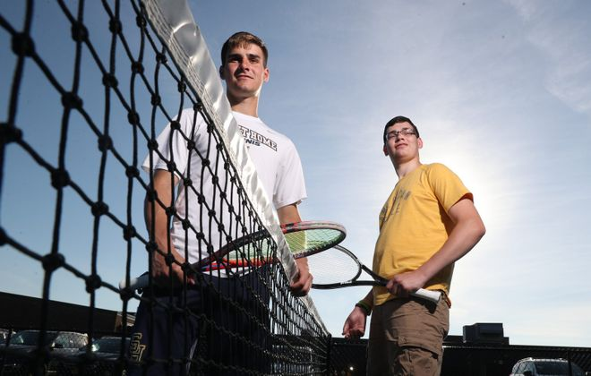 Sweet Home tennis standout Jonah Murphy and his brother Jacob. (James P. McCoy/Buffalo News)