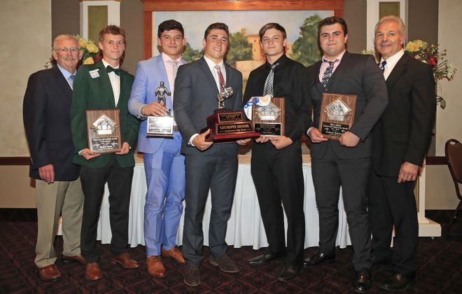 """Bud Carpenter (far left) President of the Ilio DiPaolo Scholarship Fund and Dennis DiPaolo (far right) stand with this year's Ilio DiPaolo Scholarship Fund honorees: Randolph's Matthew Evans (Cauliflower Alley Club Award), Lancaster's Joseph Andreessen (Gary Castanza Award), Southwestern's Giuseppe Hoose (Ilio DiPaolo Award), Chautauqua Lake's Bryce Rowe (The """"Destroyer"""" Award) and Starpoint's Anthony Robinson (The Bill Hein Award). (Harry Scull Jr./ Buffalo News)"""