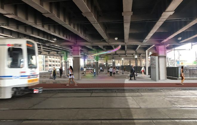 The state Department of Transportation's renderings for a new Buffalo Amtrak station show a facility that points away from Canalside.