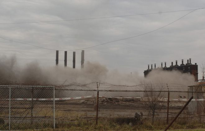 The Spaulding Fibre plant site was demolished on Dec. 21, 2006. (News file photo)