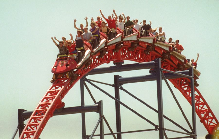 Visitors to Darien Lake ride on the Superman roller coaster. (News file photo)