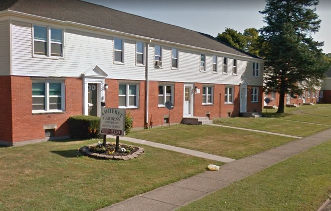 The Amherst Gardens Apartments is one of the properties cited last week in a federal mortgage fraud indictment against two mortgage brokers.