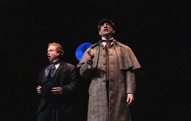 """Todd Benzin and Chris J. Handley played Sherlock Holmes and Dr. Watson in the hilarious """"Baskerville: A Sherlock Holmes Mystery"""" at Shea's 710 Theatre. (Photo credit: Jesse Sloier)"""