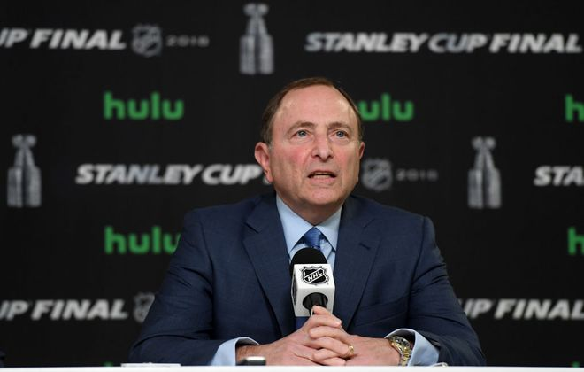 NHL Commissioner Gary Bettman speaks to the media prior to Game 1 of the Stanley Cup final (Getty Images).