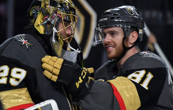 Marc-Andre Fleury and Jonathan Marchessault of the Vegas Golden Knights celebrate after beating the San Jose Sharks in Game Five of the Western Conference Second Round. (Getty Images)