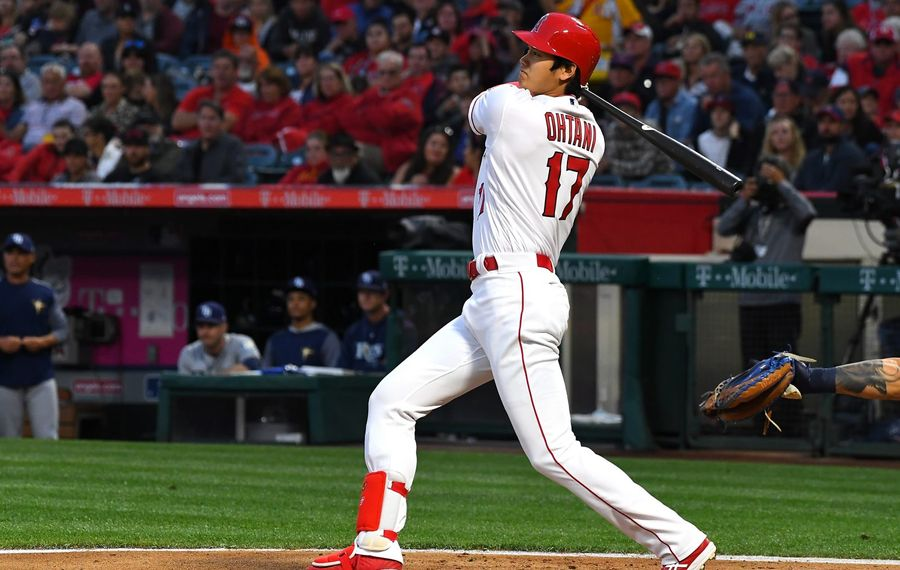 Shohei Ohtani No. 17 of the Los Angeles Angels of Anaheim doubles in the second inning of the game against the Tampa Bay Rays at Angel Stadium on May 18, 2018 in Anaheim. (Getty Images)