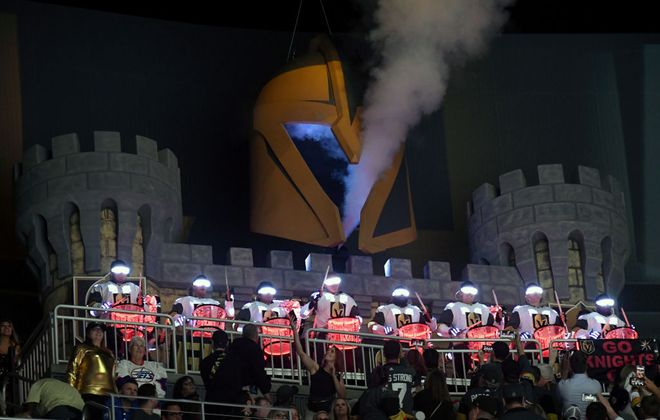 The Knight Line Drumbots and the castle high atop T-Mobile Arena are a big part of the show at Vegas Golden Knights games (Getty Images).