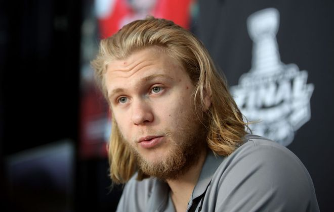 William Karlsson answers questions Sunday on Stanley Cup Media Day. (Getty Images)