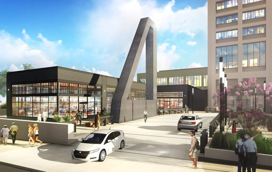 The sculpture by renowned artist Ronald Bladen remains a centerpiece of Douglas Jemal's redesign of One Seneca Tower, as shown in this rendering of proposed changes.