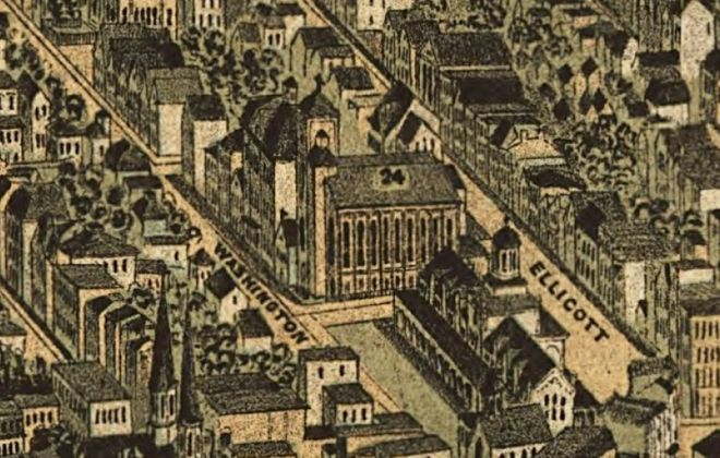 St. Michael Roman Catholic Church, No. 24 on the  1880 Hutchinson map of Buffalo.