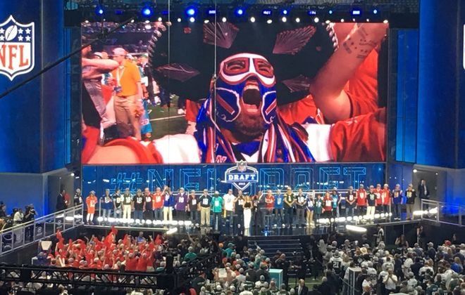Pancho Billa, on the big screen: Ezra Castro made his presence felt at last week's NFL Draft. (Image courtesy Ezra Castro)