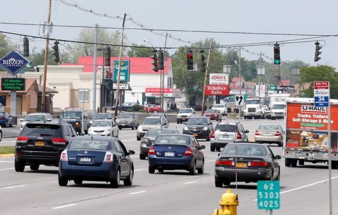 Niagara Falls Boulevard is seen with Tonawanda on the left and Amherst on the right. (Robert Kirkham/News file photo)