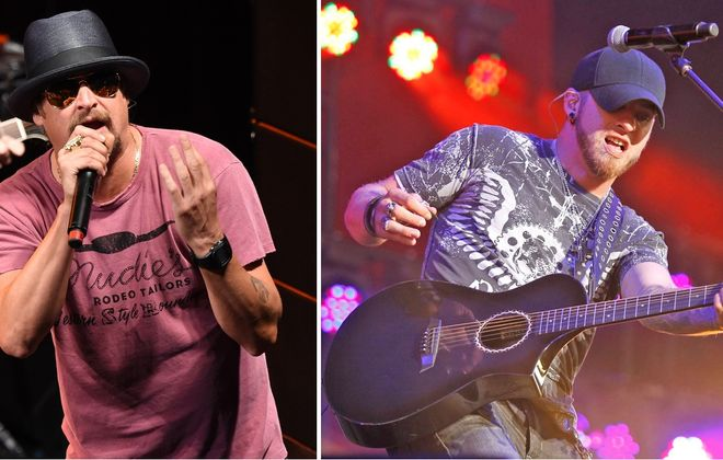 Kid Rock, left, and Brantley Gilbert have teamed up on a tour that will stop by Darien Lake. (Getty Images; Harry Scull Jr./News file photo)