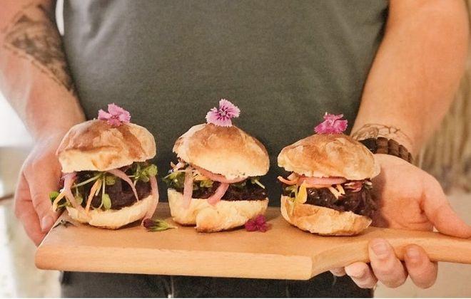 Jackfruit sliders at Root & Bloom Cafe. (Root & Bloom Cafe)