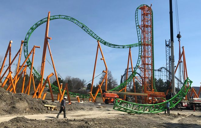 Work proceeds at Darien Lake on the new Tantrum roller coaster, set to open on Memorial Day Weekend. (Samantha Christmann/Buffalo News)