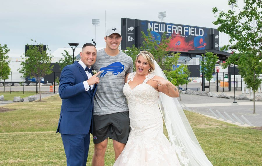 Joe and Lorrie Lovullo were married Saturday and stopped by New Era Field to have photos taken along with members of their bridal party. They were surprised when Bills rookie quarterback Josh Allen stopped by and took photos with them. (Photo courtesy of Dylan Buyskes/Onion Studio)