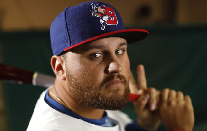 Buffalo Bisons first baseman Rowdy Tellez is hitting .355 in his last 10 games. (Derek Gee/Buffalo News)