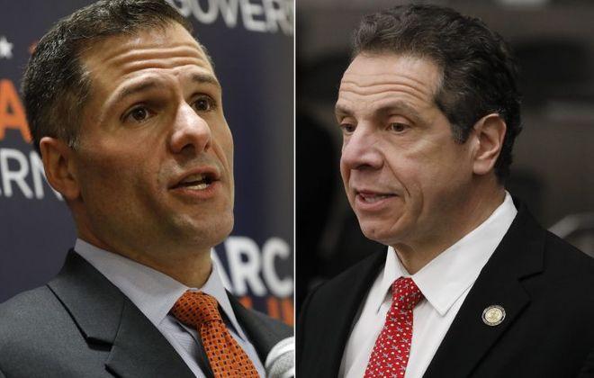Republican Dutchess County Executive Marc Molinaro, left, challenged Democratic incumbent Gov. Andrew Cuomo, right. (Derek Gee/News file photos)