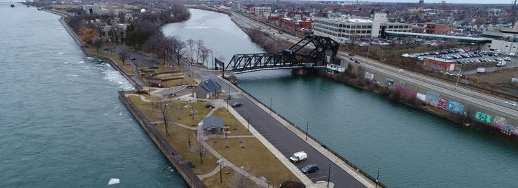 Broderick Park at the foot of West Ferry Street with the Niagara River on the left, and the Black Rock Channel to the right. (Derek Gee/Buffalo News file photo)