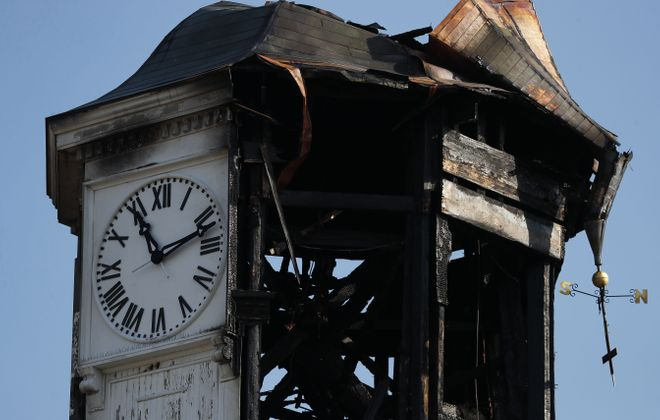 The burned out clock tower in downtown Fredonia, pictured on Wednesday, May 9, 2018. The clock tower dates back to the 1800s.  (Mark Mulville/Buffalo News)