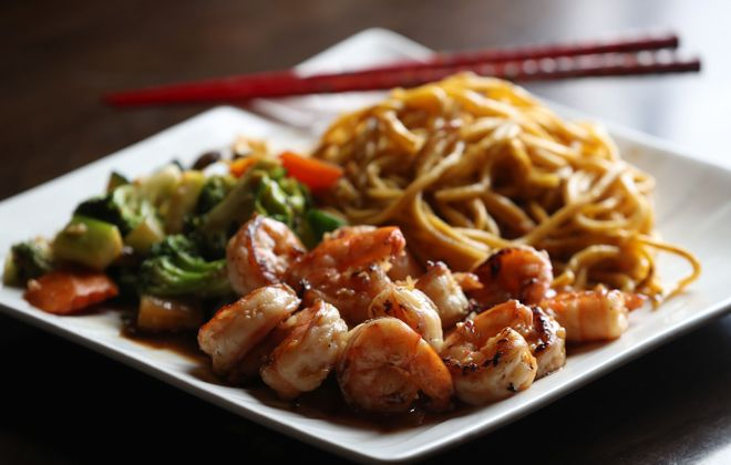 Shrimp hibachi from Kyoto is served with fried noodles and mixed vegetables. (Sharon Cantillon/Buffalo News)