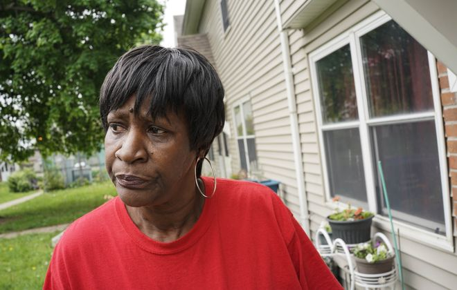 Guin Sox, a longtime Langfield Homes resident, has had several instances of flooding from sewer backup in her apartment. (Derek Gee/Buffalo News)
