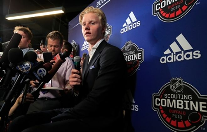 Rasmus Dahlin addresses the media at the Stanley Cup finals (Getty Images)