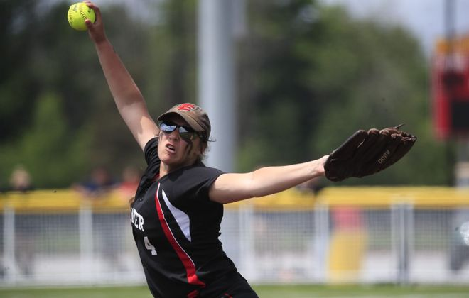 Lancaster pitcher Jenna Patterson pitches to Victor in the fifth inning of the Class AA softball Far West Regional at Williamsville East high school on Saturday June 2, 2018. (Harry Scull Jr./ Buffalo News)