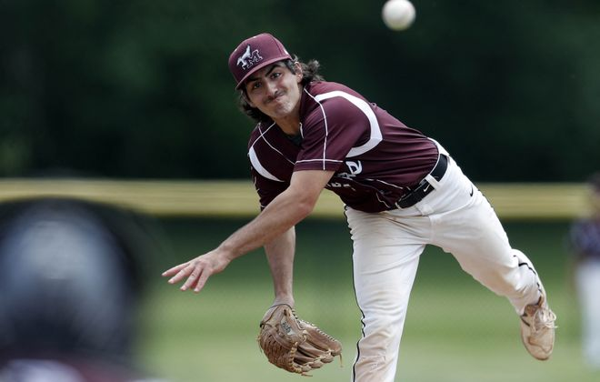 Maryvale's Paul Tripi throws to a Canadaigua Academy batter during the Class A Far West Regional at Orchard Park High School Saturday, June 2, 2018.   (Mark Mulville/Buffalo News)